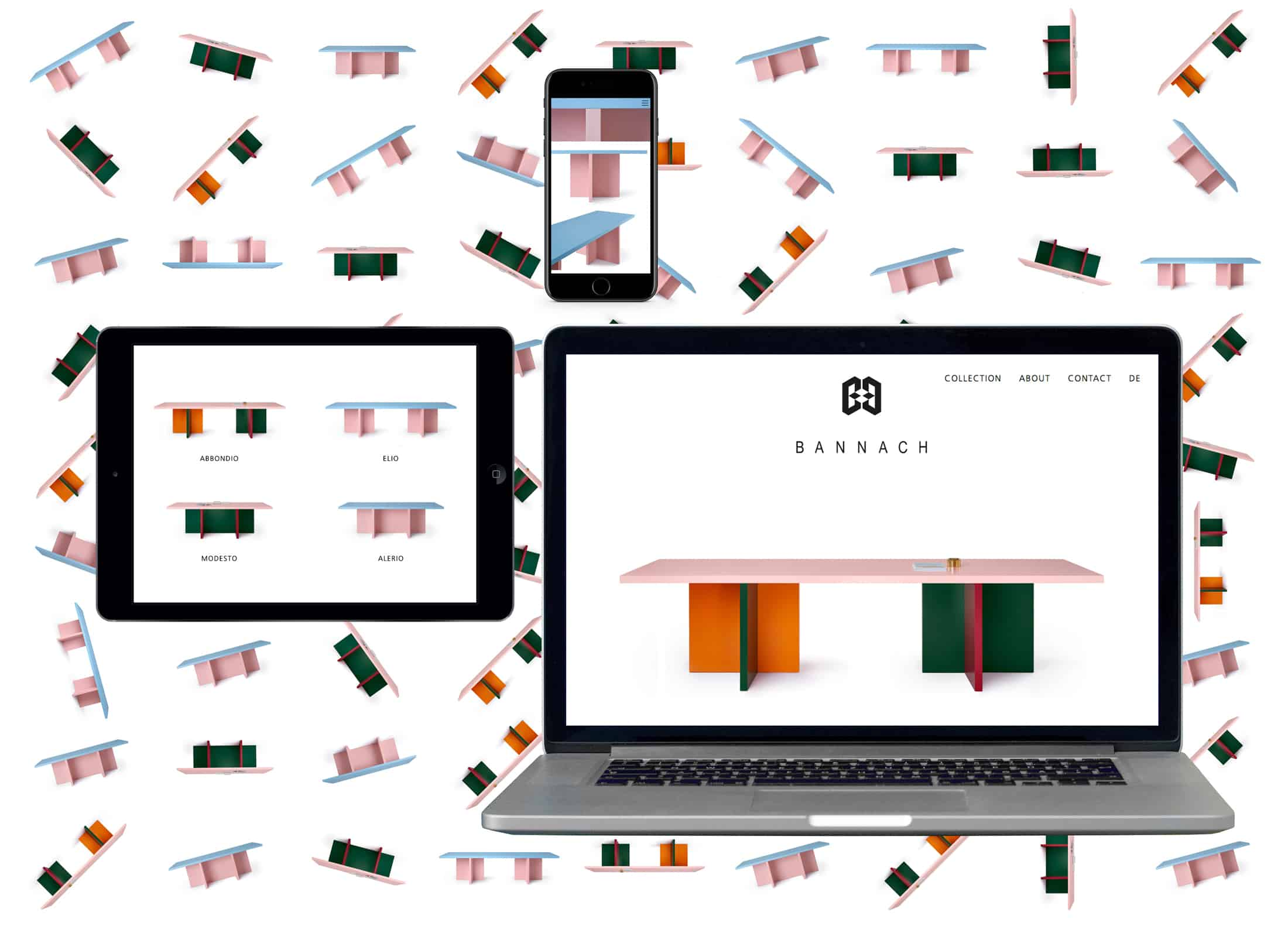 Photo of the responsive website design for furniture designer Moritz Bannach, shown on a mobile, tablet and desktop screen.