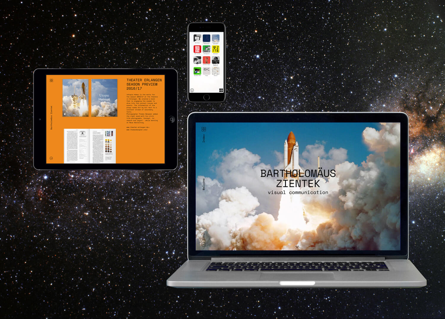 Photo of the responsive website design for the portfolio of Bartholomäus Zientek, shown on a mobile, tablet and desktop screen.