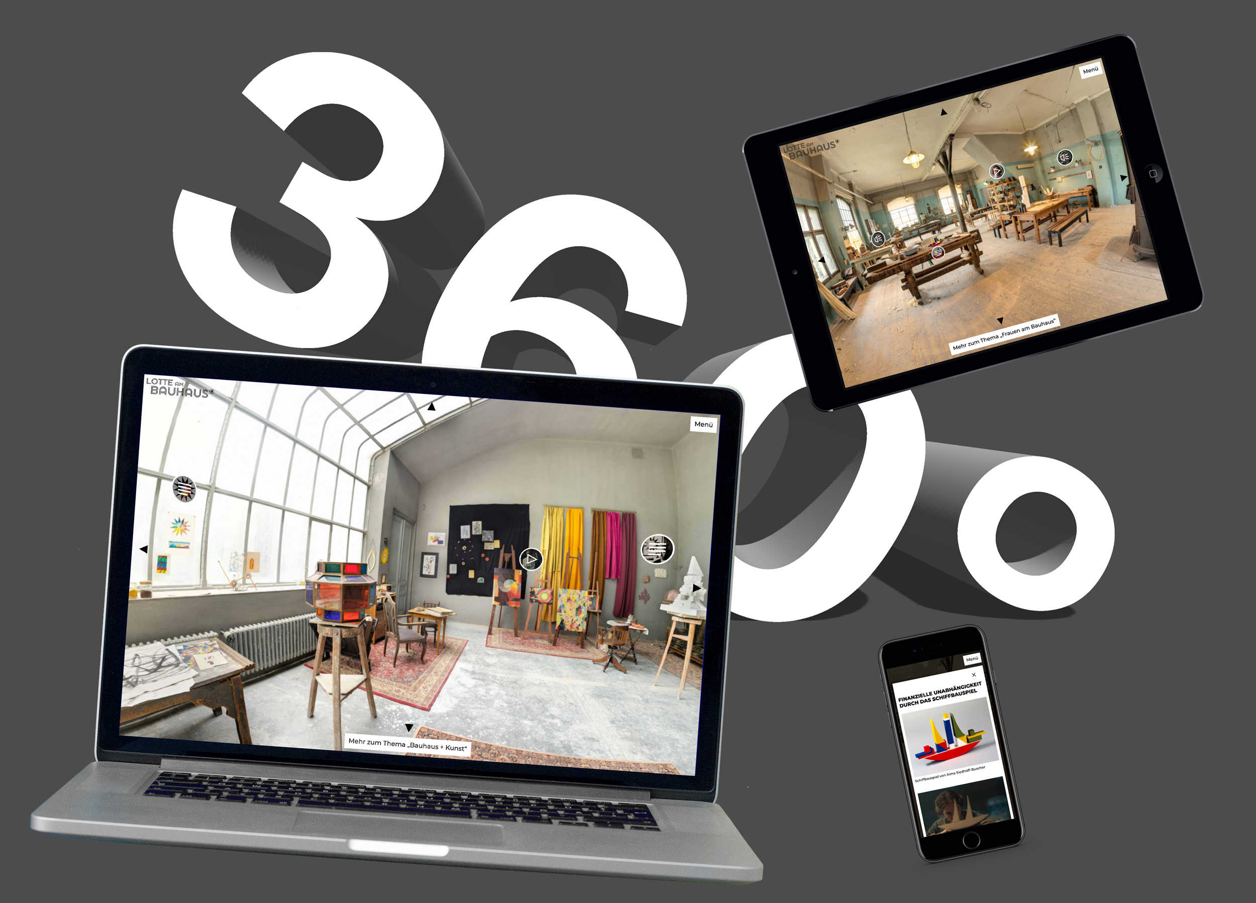 Photo of the responsive website Lotte am Bauhaus for ARD / MDR, shown on a mobile, tablet and desktop screen.