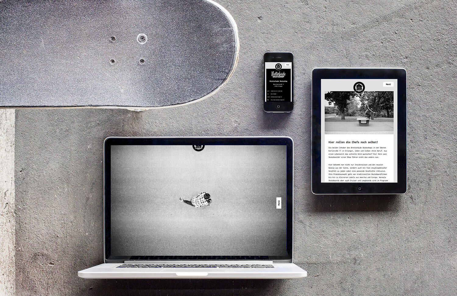 Photo of the responsive website design for Bretterbude Skateshop shown on a mobile, tablet and desktop screen.