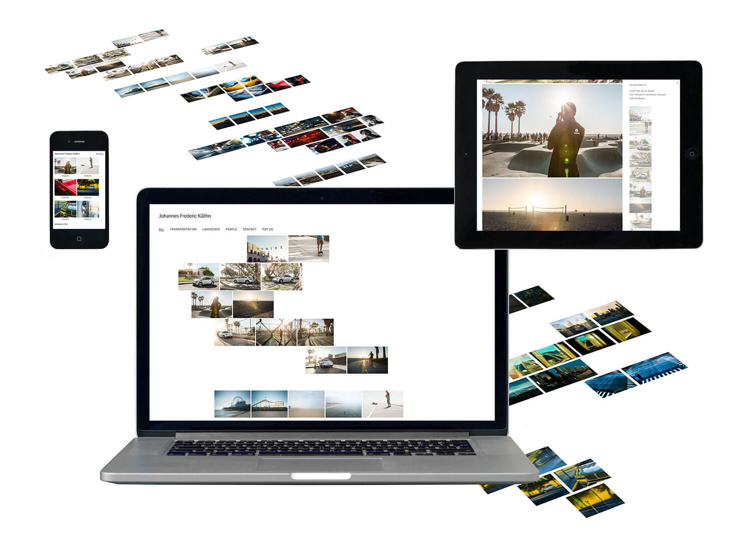 Photo of the responsive website design for Johannes Frederic Kühn shown on a mobile, tablet and desktop screen.