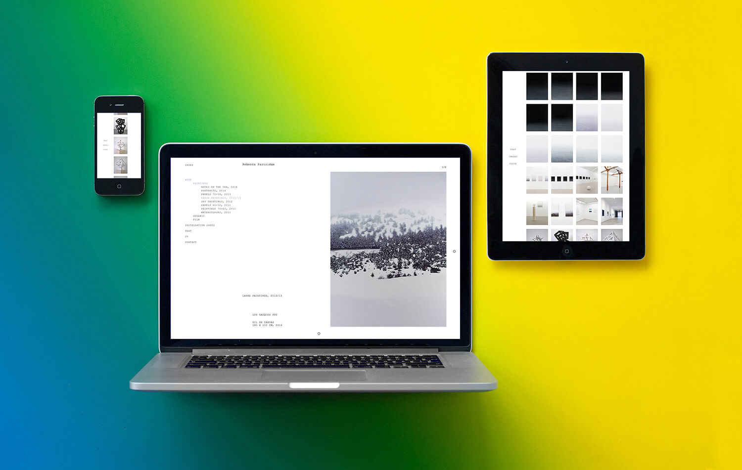 Photo of the responsive website design for artist Rebecca Partridge shown on a mobile, tablet and desktop screen.