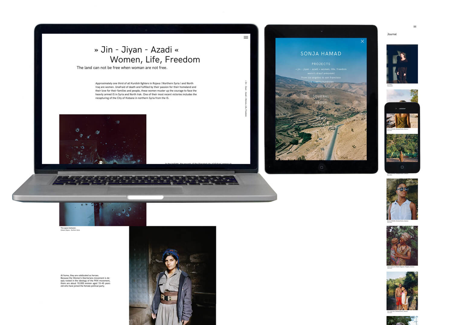 Photo of the responsive website design for Sonja Hamad shown on a mobile, tablet and desktop screen.