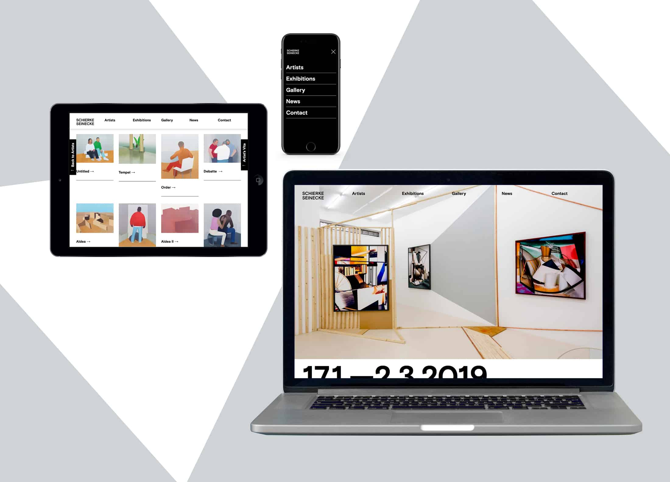 Photo of the responsive website design for Gallery Schierke Seinecke on a mobile, tablet and desktop screen.